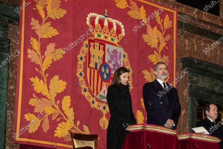 Spain's King Felipe VI (C) and Queen Letizia attend the funeral of Spanish princess Pilar de Borbon, Duchess of Badajoz and Monarch' aunt, at the Real Monasterio de San Lorenzo basilica, in El Escorial, outside Madrid, Spain, 29 January 2020. More than 200 people attended the funeral, held 21 days after the death of the princess at 83.