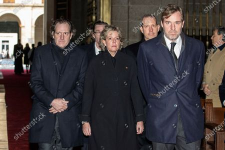 Late Princess Pilar de Borbon's children (from left) Juan Gomez-Acebo, Fernando Gomez-Acebo, Simoneta Gomez-Acebo; Bruno Gomez-Acebo and Beltran Gomez-Acebo arrive to the funeral of their mother, Duchess of Badajoz, at the Real Monasterio de San Lorenzo basilica, in El Escorial, outside Madrid, Spain, 29 January 2020. More than 200 people attend the funeral, held 21 days after the death of the princess at 83.