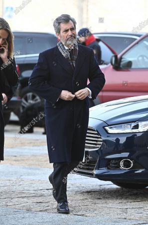 Spanish Supreme Court, Carlos Lesmes, arrives to attend the funeral of Spanish princess Pilar de Borbon, Duchess of Badajoz and Spain's Emeritus King Juan Carlos I's sister, at the Real Monasterio de San Lorenzo basilica, in El Escorial, outside Madrid, Spain, 29 January 2020. More than 200 people attend the funeral, held 21 days after the death of the princess at 83. EFE/ Fernando Villar