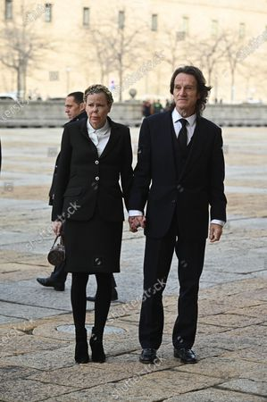 Stock Image of Princess Kalina of Bulgaria, Duchess of Saxony, and her husband Kitin Munoz (R) arrive to attend the funeral of Spanish princess Pilar de Borbon, Duchess of Badajoz and Spain's Emeritus King Juan Carlos I's sister, at the Real Monasterio de San Lorenzo basilica, in El Escorial, outside Madrid, Spain, 29 January 2020. More than 200 people attend the funeral, held 21 days after the death of the princess at 83.