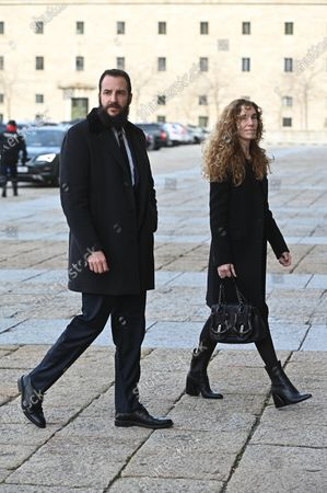 Borja Thyssen-Bornemisza (L) and his wife Blanca Cuesta arrive to attend the funeral of Spanish princess Pilar de Borbon, Duchess of Badajoz and Spain's Emeritus King Juan Carlos I's sister, at the Real Monasterio de San Lorenzo basilica, in El Escorial, outside Madrid, Spain, 29 January 2020. More than 200 people attend the funeral, held 21 days after the death of the princess at 83.