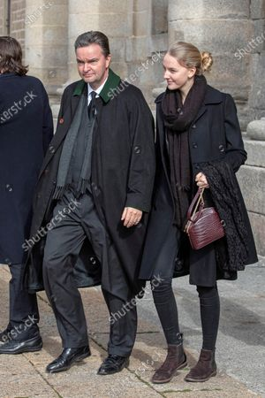 Karl von Habsburg (L), head of the House of Habsburg-Lorraine, and his daughter Eleonore von Habsburg (R), leave after they attended the funeral of Spanish princess Pilar de Borbon, Duchess of Badajoz and Spain's Emeritus King Juan Carlos I's sister, at the Real Monasterio de San Lorenzo basilica, in El Escorial, outside Madrid, Spain, 29 January 2020. More than 200 people attend the funeral, held 21 days after the death of the princess at 83.