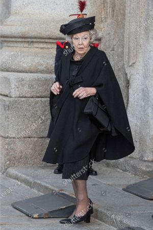 Dutch Princess Beatrix (C) leaves after she attended the funeral of Spanish princess Pilar de Borbon, Duchess of Badajoz and Spain's Emeritus King Juan Carlos I's sister, at the Real Monasterio de San Lorenzo basilica, in El Escorial, outside Madrid, Spain, 29 January 2020. More than 200 people attend the funeral, held 21 days after the death of the princess at 83.