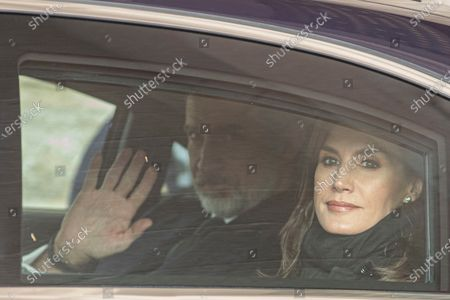 Spain's King Felipe VI (L) and Queen Letizia (R) leaves the funeral of Pilar de Borbon, Duchess of Badajoz and Monarch' aunt, at the Real Monasterio de San Lorenzo basilica, in El Escorial, outside Madrid, Spain, 29 January 2020. More than 200 people attend the funeral, held 21 days after the death of the princess at 83.