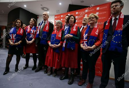 Richard Graham Corbett (3-L), the leader of the European Parliamentary British  Labour Party, poses with other British members of Parliament ahead of their last plenary session of the European Parliament in Brussels, Belgium, 29 January 2020. Britain's withdrawal from the EU is set for midnight CET on 31 January 2020, with the European Parliament scheduled to vote on the Brexit Withdrawal Agreement this afternoon.