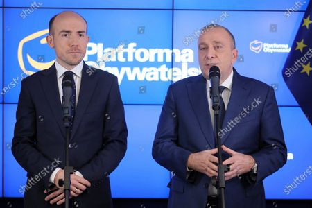 Former and current leader of main opposition party Civic Platform (PO) Grzegorz Schetyna (R) and Borys Budka (L) attend a press conference at the party headquarters in Warsaw, Poland, 29 January 2020. Polish main opposition party Civic Platform (PO) elected a new leader. The new PO head is the party's to-date deputy chairman and parliamentary caucus leader Borys Budka.