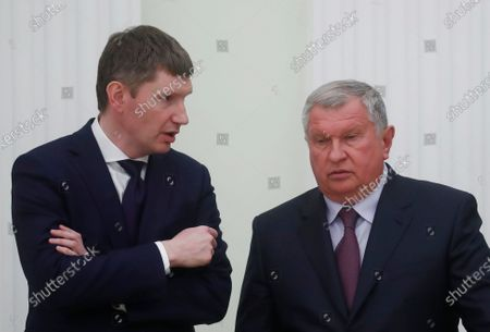 Russian Minister of Economic Development Maksim Reshetnikov (L) and Chief Executive of Rosneft Igor Sechin attend a meeting of Russian President Vladimir Putin with Bavarian State Prime Minister Markus Soeder (both not pictured)  in Moscow, Russia, 29 January  2020.