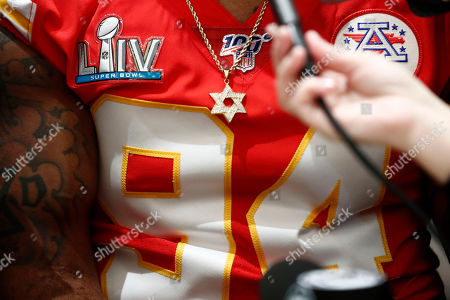 Kansas City Chiefs outside linebacker Terrell Suggs (94) speaks during to the media, in Aventura, Fla., for the NFL Super Bowl 54 football game