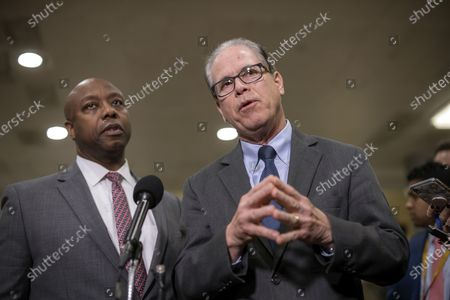 Republican Senators Tim Scott (L) of South Carolina and Mike Braun (R) of Indiana speaks to the news media during a recess in the proceedings during the second week of the impeachment trial of US President Donald Trump in the Senate at the US Capitol in Washington, DC, USA, 29 January 2020.
