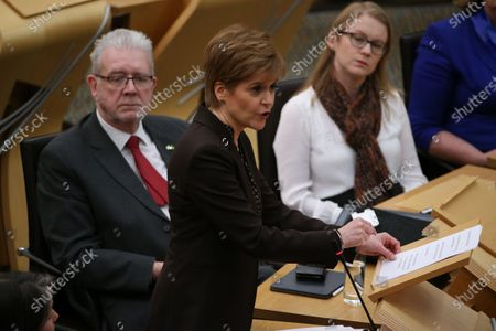 """Scottish Government Debate, Scotland's Future - Michael Russell, Cabinet Secretary for Government Business and Constitutional Relations or """"Brexit Minister"""", Nicola Sturgeon, First Minister of Scotland and Leader of the Scottish National Party (SNP), and Shirley-Anne Somerville, Cabinet Secretary for Social Security and Older People."""