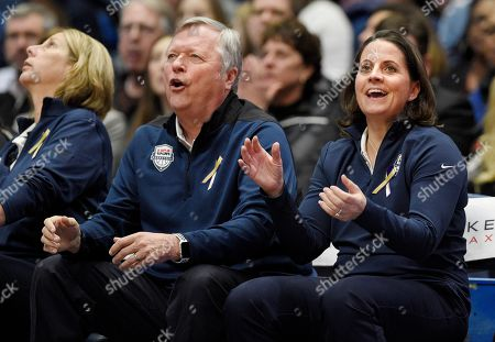 Dan Hughes, Jennifer Rizzotti. United States' assistant coaches Dan Hughes and Jennifer Rizzotti in the second half of an exhibition basketball game, in Hartford, Conn