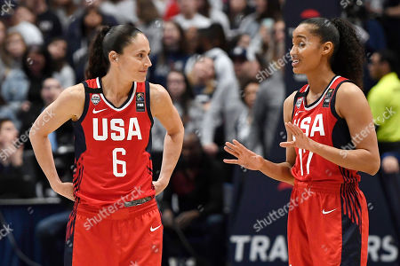 Skylar Diggins-Smith, Sue Bird. United States' Sue Bird, left, and United States' Skylar Diggins-Smith in the first half of a basketball game, in Hartford, Conn