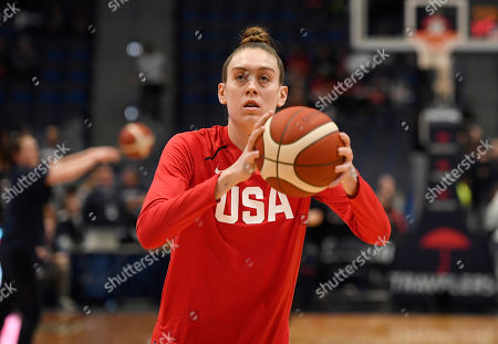 United States' Breanna Stewart before a basketball game, in Hartford, Conn