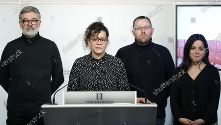 Pro Catalan independence party CUP MPs (L-R) Carles Riera, Natalia Sanchez, Vidal Aragones and Maria Sirvent offer a presser at the Catalan regional Parliament in Barcelona, Catalonia, Spain, 29 January 2020 following Catalan regional President Quim Torra's announcement of new regional elections in Catalonia. According to Torra, leader of the PdeCat party, the Government is not viable for the 'lack of loyalty' of their coalition partners ERC party. Nevertheless, the date for new elections will not be announce until the regional government's 2020 budget is approved.