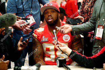 Kansas City Chiefs outside linebacker Terrell Suggs (94) speaks during a media availability, in Aventura, Fla., for the NFL Super Bowl 54 football game