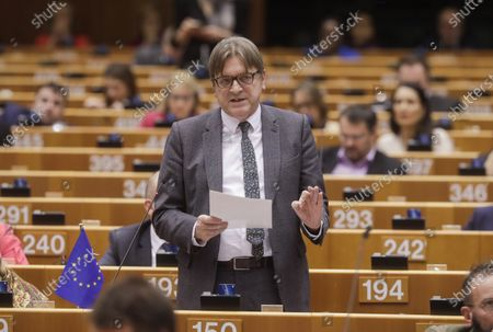 European Parliament Brexit Negotiator Guy Verhofstadt gives a speech during a plenary session on BREXIT vote of the European Parliament in Brussels, Belgium, 29 January 2020. Britain's withdrawal from the EU is set for midnight CET on 31 January 2020, with the European Parliament scheduled to vote on the Brexit Withdrawal Agreement.