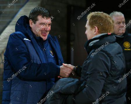 29th January 2020; McDairmid Park, Perth, Perth and Kinross, Scotland; Scottish Premiership Football, St Johnstone versus Celtic; St Johnstone manager Tommy Wright greets Celtic Manager Neil Lennon