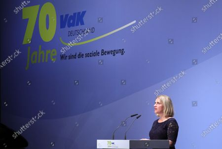 Stock Photo of The President of the VdK Deutschland, Verena Bentele, speaks during the 70 anniversary event of the welfare organisation VdK Deutschland in Berlin, Germany, 29 January 2020. The Sozialverband VdK Deutschland is committed to the needs of handicapped, chronically ill and elderly people and offers patients offers comprehensive information on barrier-free travelling.