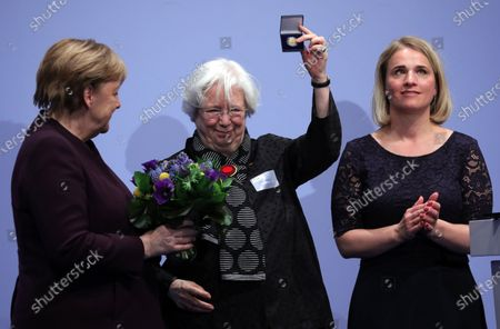 The German Chancellor Angela Merkel (L) and the current President of the VdK Deutschland, Verena Bentele (R) congratulate the former VdK president, Ulrike Mascher, during the 70 anniversary event of the welfare organisation VdK Deutschland in Berlin, Germany, 29 January 2020. The Sozialverband VdK Deutschland is committed to the needs of handicapped, chronically ill and elderly people and offers patients offers comprehensive information on barrier-free travelling.