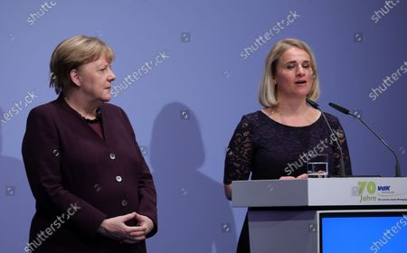 The German Chancellor Angela Merkel (L) listens to the President of the VdK Deutschland, Verena Bentele, during the 70 anniversary event of the welfare organisation VdK Deutschland in Berlin, Germany, 29 January 2020. The Sozialverband VdK Deutschland is committed to the needs of handicapped, chronically ill and elderly people and offers patients offers comprehensive information on barrier-free travelling.