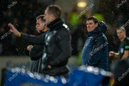 Tommy Wright, manager of St Johnstone FC watches from the technical area during the Ladbrokes Scottish Premiership match between St Johnstone FC and Celtic FC at McDiarmid Park, Perth