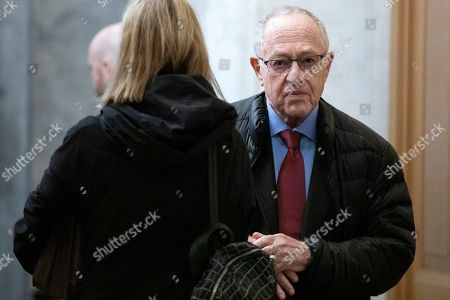 Attorney Alan Dershowitz arrives on Capitol Hill in Washington, for the impeachment trial of President Donald Trump on charges of abuse of power and obstruction of Congress
