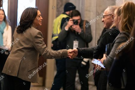 Kamala Harris, Alan Dershowitz. Sen. Kamala Harris, D-Calif., left, greets Attorney Alan Dershowitz, on Capitol Hill in Washington, as she arrives for the impeachment trial of President Donald Trump on charges of abuse of power and obstruction of Congress