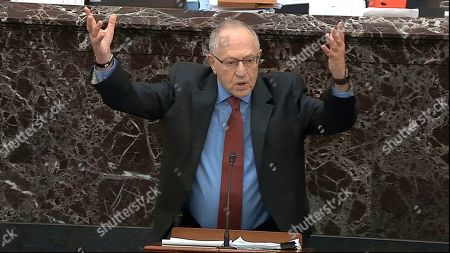 In this image from video, Alan Dershowitz, an attorney for President Donald Trump, answers a question during the impeachment trial against Trump in the Senate at the U.S. Capitol in Washington