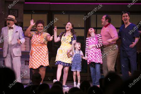 Andrew Boyer (Old Joe), Marisha Wallace (Becky), Sara Bareilles (Jenna/Music/Lyrics), Lucia De Wan (Lulu), Evelyn Hoskins (Dawn), Joel Montague (Ogie) and Gavin Creel (Dr Pomatter) during the curtain call
