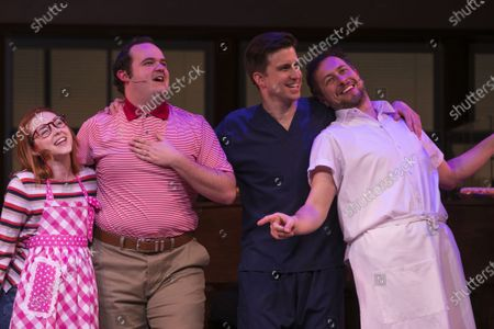Stock Image of Evelyn Hoskins (Dawn), Joel Montague (Ogie), Gavin Creel (Dr Pomatter) and Richard Taylor Woods (Cal) during the curtain call