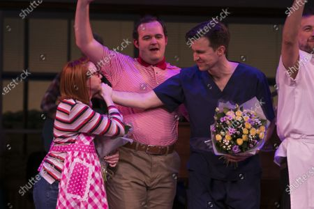 Evelyn Hoskins (Dawn), Joel Montague (Ogie) and Gavin Creel (Dr Pomatter) during the curtain call