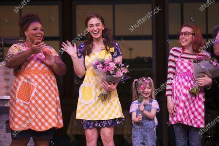 Marisha Wallace (Becky), Sara Bareilles (Jenna/Music/Lyrics), Lucia De Wan (Lulu) and Evelyn Hoskins (Dawn) during the curtain call