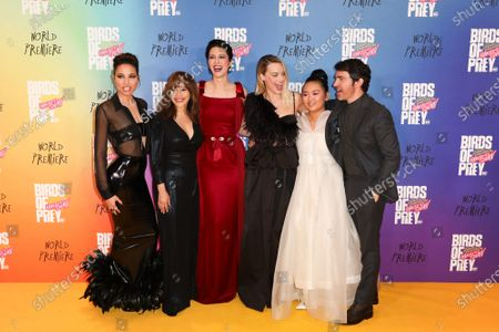 Jurnee Smollett-Bell, Cathy Yan, Rosie Perez, Mary Elizabeth Winstead, Margot Robbie, Ella Jay Basco and Chris Messina
