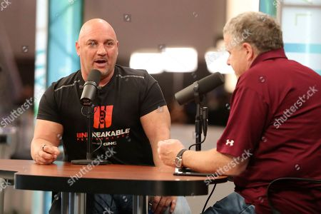 NFL insider Jay Glazer is interviewed by Peter King on Radio Row at the Super Bowl, in Miami Beach, Fla