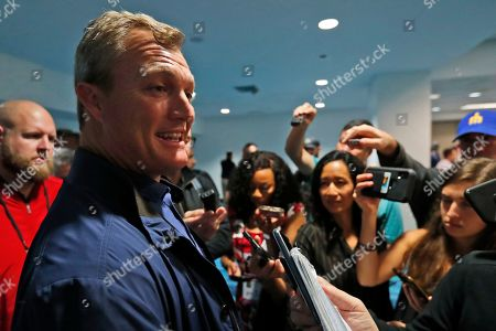 San Francisco 49ers general manager John Lynch speaks during a media availability, in Miami, for the NFL Super Bowl 54 football game against the Kansas City Chiefs