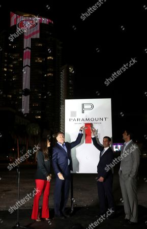 Stock Photo of Francis Suarez, Daniel Kodsi. Miami Mayor Francis Suarez and developer Daniel Kodsi flip the switch on Paramount Miami Worldcenter to kick-off Super Bowl 54, in Miami. The 13,400 LED lights features half-time performers Jennifer Lopez, Shakira and both Super Bowl teams
