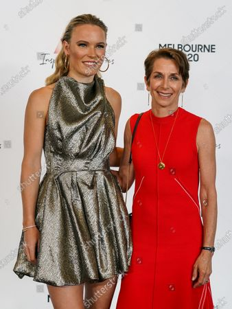 Stock Photo of Danish tennis player Caroline Wozniacki and Tennis Australia Chair Jayne Hrdlicka arrive at the Australian Open (AO) Inspirational Lunch at the Glasshouse during day eleven of the Australian Open tennis tournament in Melbourne, Australia, 30 January 2020.