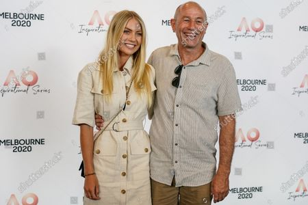 Australian model Elyse Knowles (L) and her dad Stuart Knowles arrive at the Australian Open (AO) Inspirational Lunch at the Glasshouse during day eleven of the Australian Open tennis tournament in Melbourne, Australia, 30 January 2020.