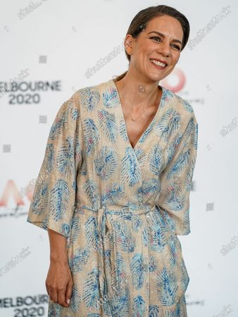 Stock Image of Australian actress Michala Banas arrives at the Australian Open (AO) Inspirational Lunch at the Glasshouse during day eleven of the Australian Open tennis tournament in Melbourne, Australia, 30 January 2020.