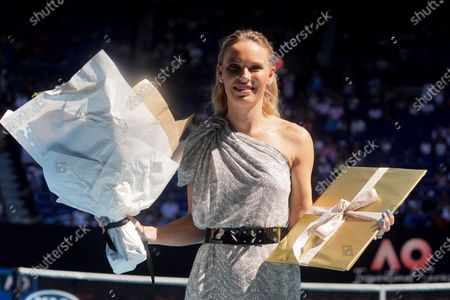 Caroline Wozniacki of Denmark poses for photographers after being announced as the Australian Open Woman of the Year during the Australian Open Grand Slam tennis tournament at Rod Laver Arena in Melbourne, Australia, 30 January 2020.