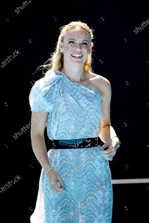 Stock Picture of Caroline Wozniacki of Denmark reacts after being announced as the Australian Open Woman of the Year during the Australian Open Grand Slam tennis tournament at Rod Laver Arena in Melbourne, Australia, 30 January 2020.
