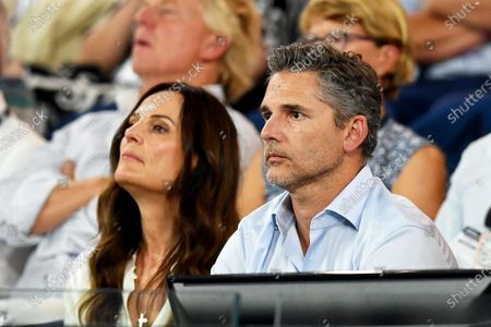 Australian actor Eric Bana (R) and his wife Rebecca Gleeson (L) attend the men's singles semi final match between Roger Federer of Switzerland and Novak Djokovic of Serbia at the Australian Open Grand Slam tennis tournament at Rod Laver Arena in Melbourne, Australia, 30 January 2020.