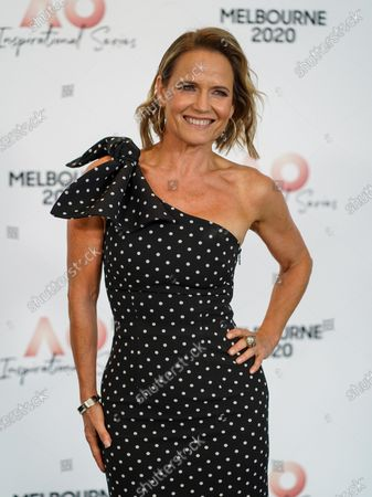 Stock Image of Australian interior designer Shaynna Blaze arrives at the Australian Open (AO) Inspirational Lunch at the Glasshouse during day eleven of the Australian Open tennis tournament in Melbourne, Australia, 30 January 2020.