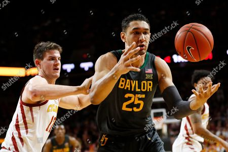 Michael Jacobson, Tristan Clark. Baylor forward Tristan Clark (25) is fouled by Iowa State forward Michael Jacobson, left, during the first half of an NCAA college basketball game, in Ames, Iowa