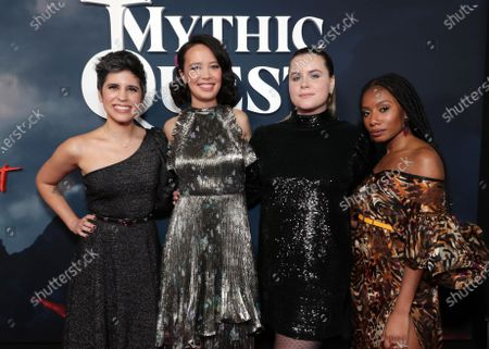 """Ashly Burch, Charlotte Nicdao, Jessie Ennis and Imani Hakim at the Apple TV+ """"Mythic Quest: Raven's Banquet"""" Premiere at the Cinerama Dome."""