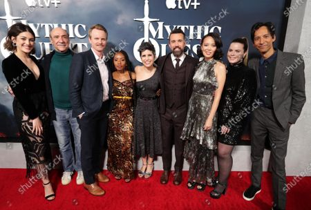 "Caitlin McGee, F. Murray Abraham, David Hornsby, Executive Producer, Imani Hakim, Ashly Burch, Rob McElhenney, Writer/Executive Producer, Charlotte Nicdao, Jessie Ennis and Danny Pudi at the Apple TV+ ""Mythic Quest: Raven's Banquet"" Premiere at the Cinerama Dome."