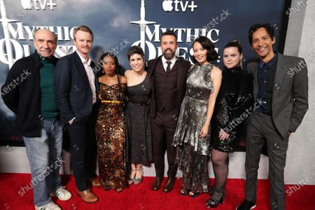 "F. Murray Abraham, David Hornsby, Executive Producer, Imani Hakim, Ashly Burch, Rob McElhenney, Writer/Executive Producer, Charlotte Nicdao, Jessie Ennis and Danny Pudi at the Apple TV+ ""Mythic Quest: Raven's Banquet"" Premiere at the Cinerama Dome."