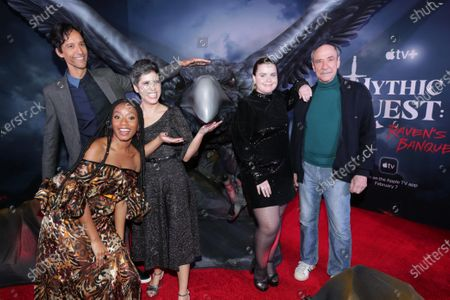 "Danny Pudi, Imani Hakim, Ashly Burch, Jessie Ennis and F. Murray Abraham at the Apple TV+ ""Mythic Quest: Raven's Banquet"" Premiere at the Cinerama Dome."