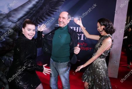 "Jessie Ennis, F. Murray Abraham and Charlotte Nicdao at the Apple TV+ ""Mythic Quest: Raven's Banquet"" Premiere at the Cinerama Dome."