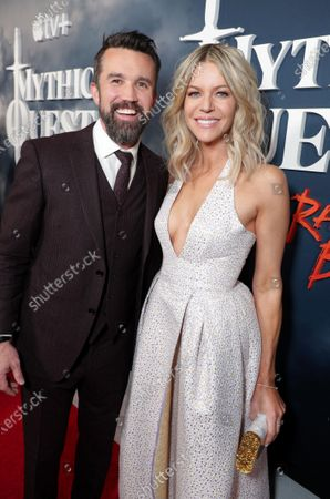 "Rob McElhenney, Writer/Executive Producer, and Kaitlin Olson at the Apple TV+ ""Mythic Quest: Raven's Banquet"" Premiere at the Cinerama Dome."